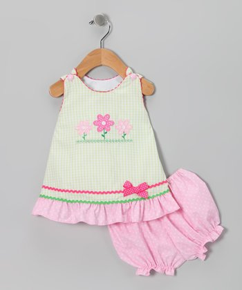 Green & Pink Flower Ruffle Jumper & Bloomers - Infant