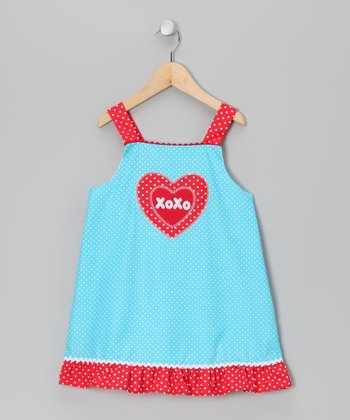 Turquoise 'XOXO' Dress - Toddler