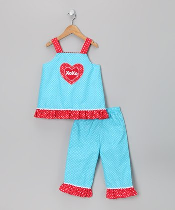 Turquoise 'XOXO' Top & Pants - Infant, Toddler & Girls