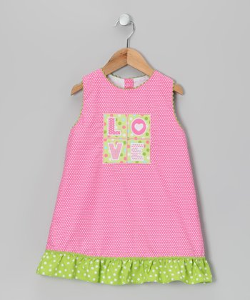 Pink 'Love' Swing Dress - Toddler & Girls