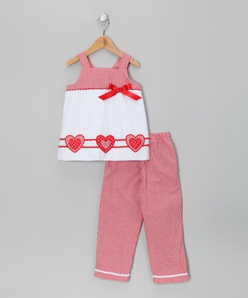 White Lots of Love Tank & Red Pants - Infant