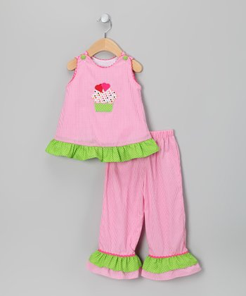 Hot Pink Cupcake Heart Top & Pants - Girls