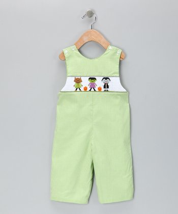Candyland Green Monster Smocked Gingham Overalls - Infant