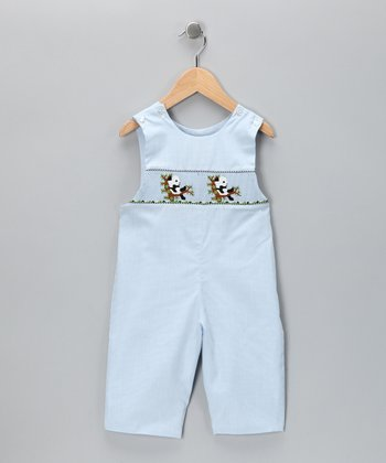 Candyland Light Blue Panda Smocked Overalls - Infant