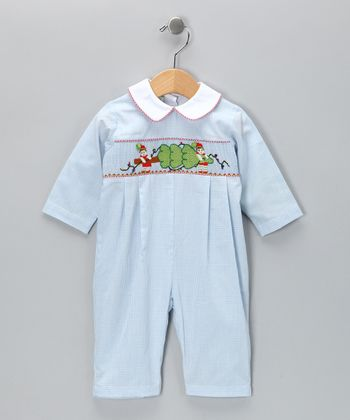 Candyland Blue Elf Smocked Playsuit - Infant