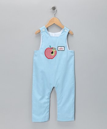 Candyland Light Blue Apple Smocked Overalls - Infant & Toddler
