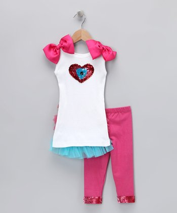 Pink & Turquoise Peacock Tank & Leggings - Toddler & Girls