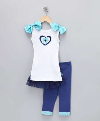 Turquoise & Blue Peacock Tank & Leggings - Toddler & Girls
