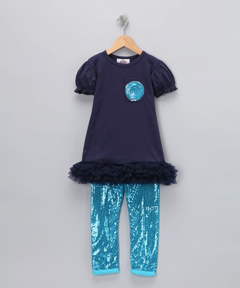 Navy & Turquoise Sequin Tee & Leggings - Girls