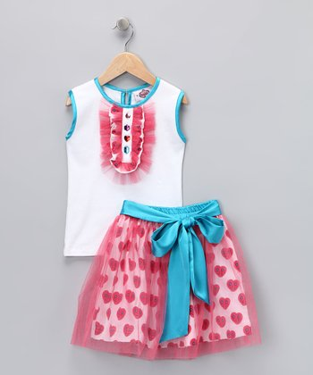 Turquoise Tuxedo Tee & Heart Skirt - Toddler & Girls