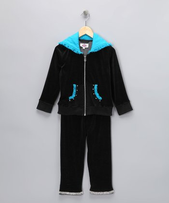 Black & Turquoise Velour Track Top & Pants - Toddler & Girls