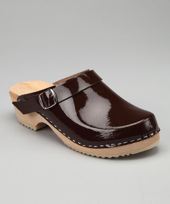 Brown Patent Leather Clog - Women