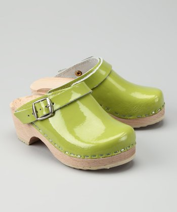Lime Green Patent Clog - Kids