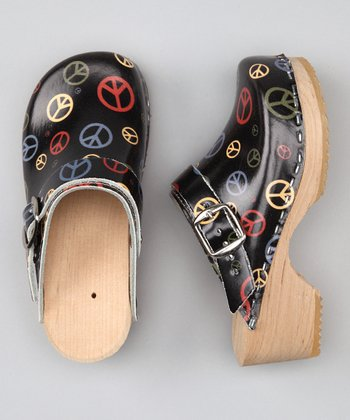 Black Peace Clog - Kids