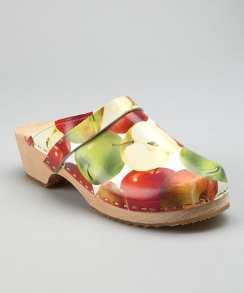 Red & Green Macintosh Apple Clog - Women