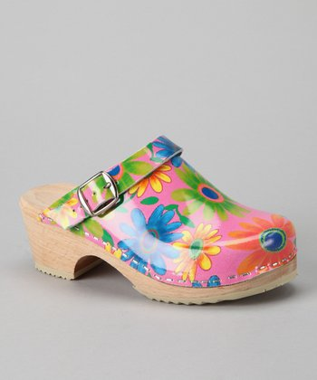 Pink Flower Power Clog - Kids