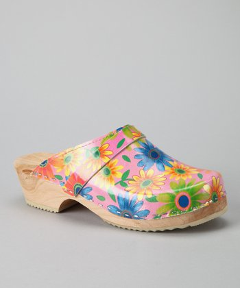 Pink Flower Power Clog - Women