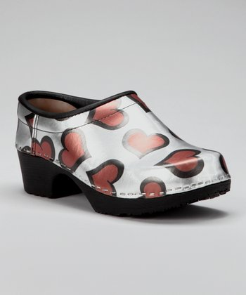 Silver & Red Heart Closed Back Clog - Women
