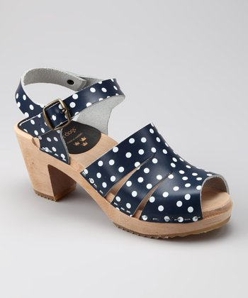 Navy & White Polka Dot Sandal - Women