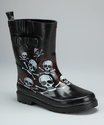 Black Up In Flames Rain Boot - Kids