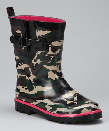 Black & Hot Pink Camouflage Rain Boot - Kids