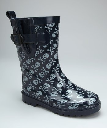 Navy Skull & Bones Rain Boot - Kids