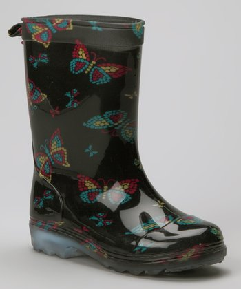 Black Mosaic Butterflies Rain Boot - Kids
