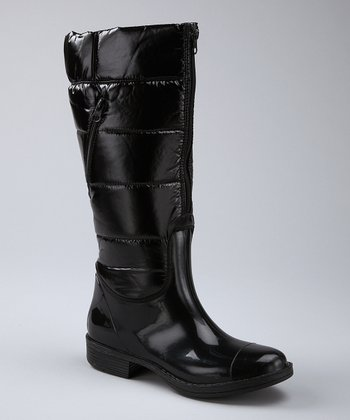 Black Zipper Rain Boot