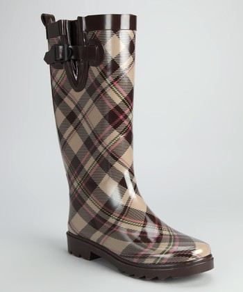 Brown & Pink Plaid Rain Boot