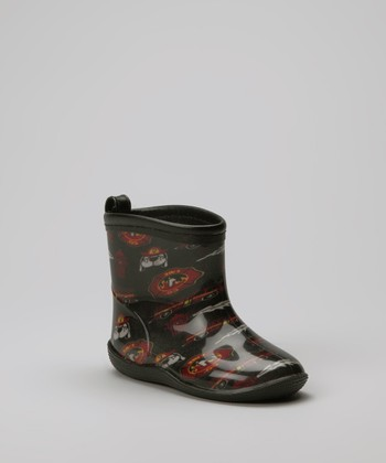 Black Fire Fighter Rain Boot - Kids