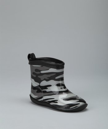 Black Camouflage Racer Rain Boot - Kids