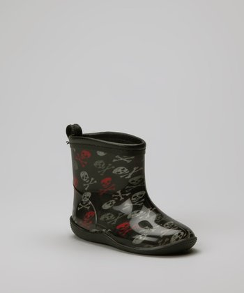 Black & Red Fun Skulls Rain Boot