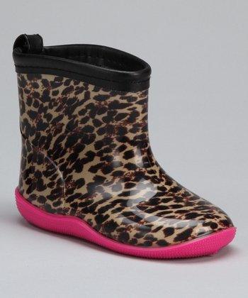 Black & Hot Pink Leopard Rain Boot