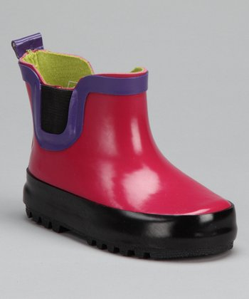 Pink Color Block Rain Boot - Kids