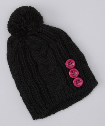 Black Button Pom-Pom Beanie