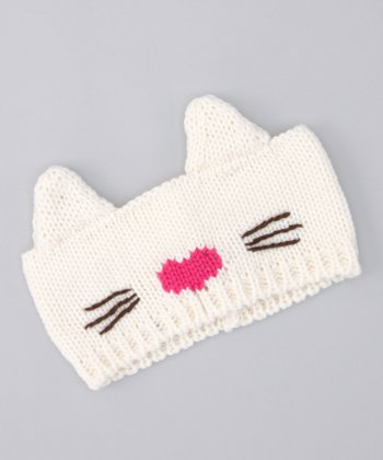 Ivory Kitty Knit Head Wrap