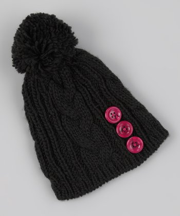 Black Cable-Knit Pom-Pom Beanie