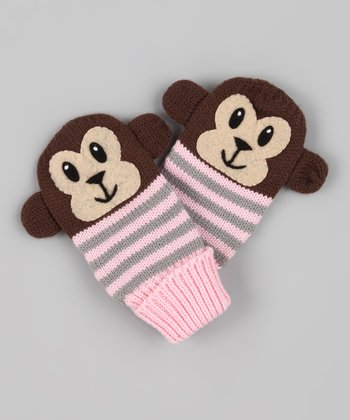 Brown Bubble Monkey Mittens