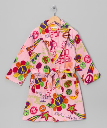 Satin Pink 'Peace Love' Fleece Bathrobe - Girls