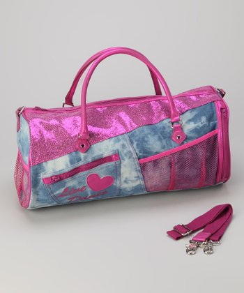 Denim & Magenta 'Live Dance' Sparkle Duffel Bag
