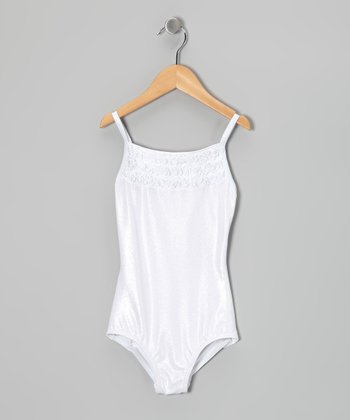 White Glisten Leotard - Toddler & Girls
