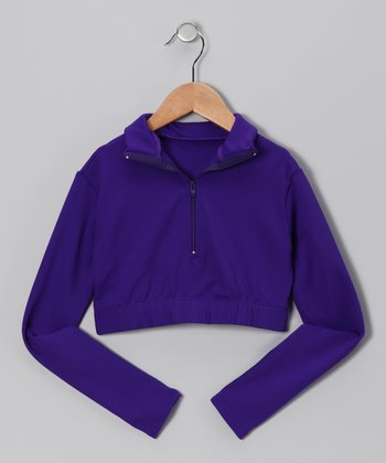 Purple Crop Pullover - Girls
