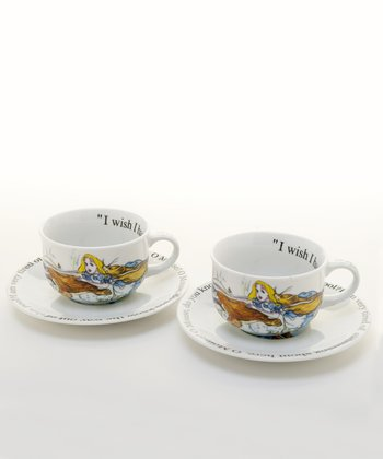 Alice in Wonderland Round Cup & Saucer - Set of Two