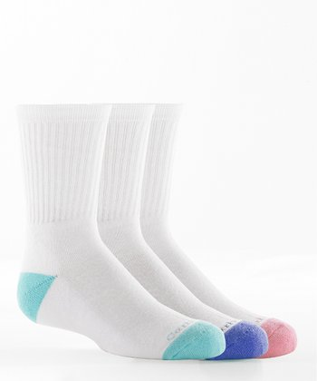 Pink, Blue & Teal Crew Socks Set