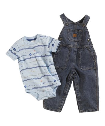 Blue Stripe Bodysuit & Overalls - Infant