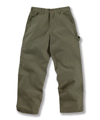 Ivy Green Canvas Dungaree Pants - Boys