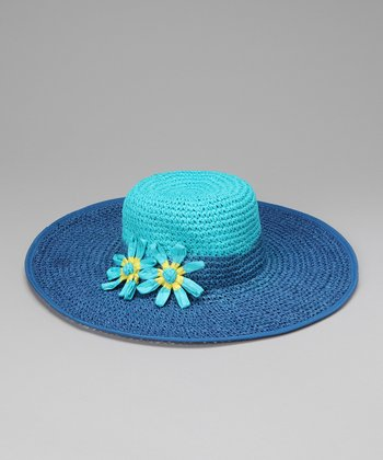 Blue & Turquoise Flower Crocheted Sunhat