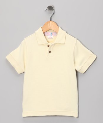 Clam White Trinidad Silk-Blend Polo - Boys