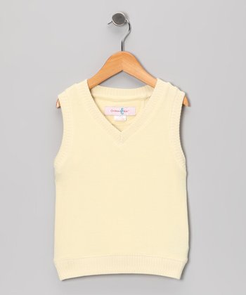 Clam White Silk-Blend Sweater Vest - Boys