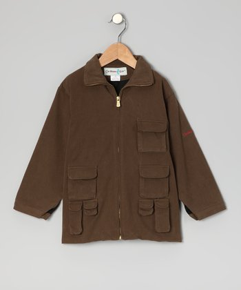 Kakua Brown Havana Silk-Blend Cargo Jacket - Toddler & Boys